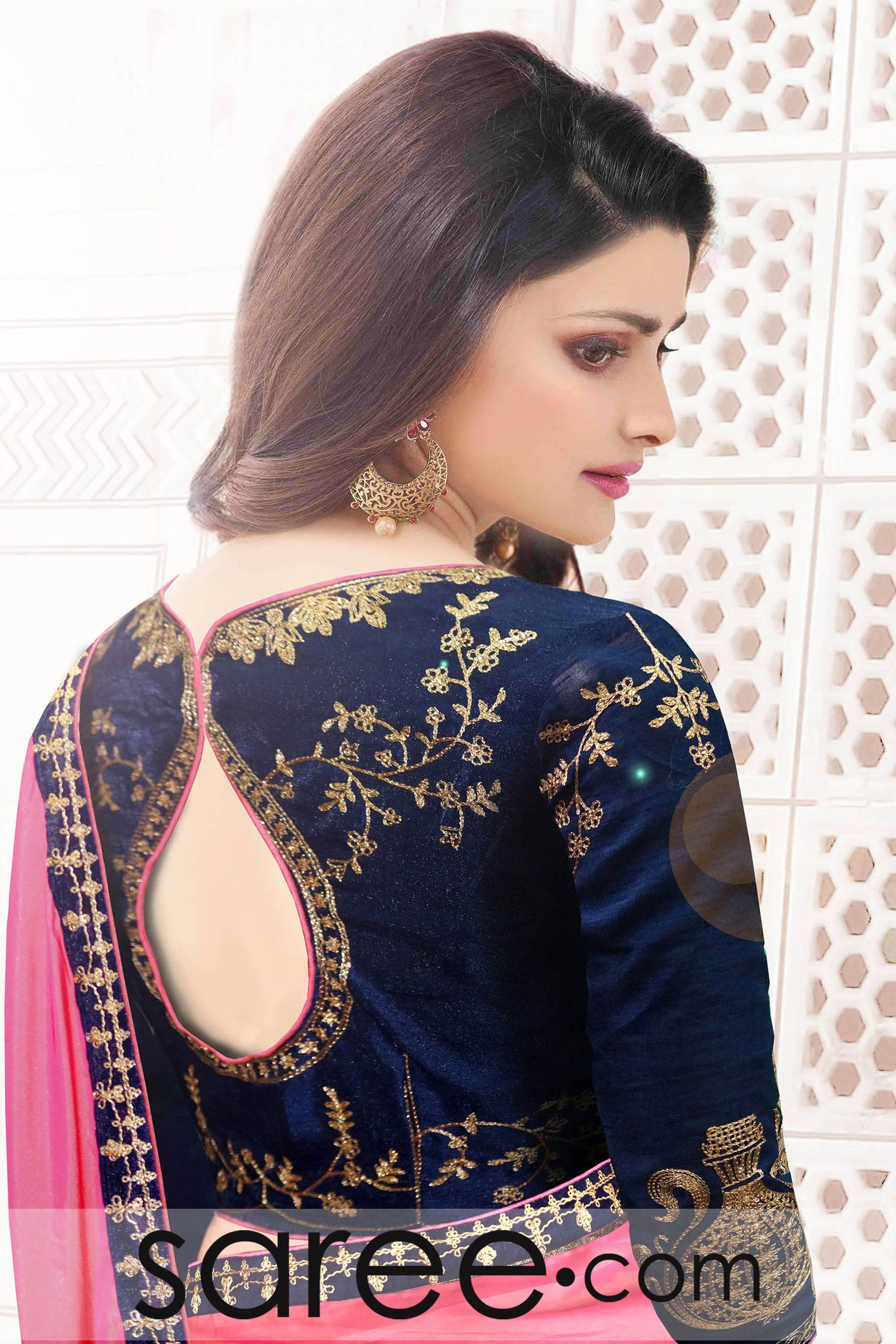 46ab4de79a2f99 Prachi Desai Light Pink Silk Saree with Zari Embroidery Work ...