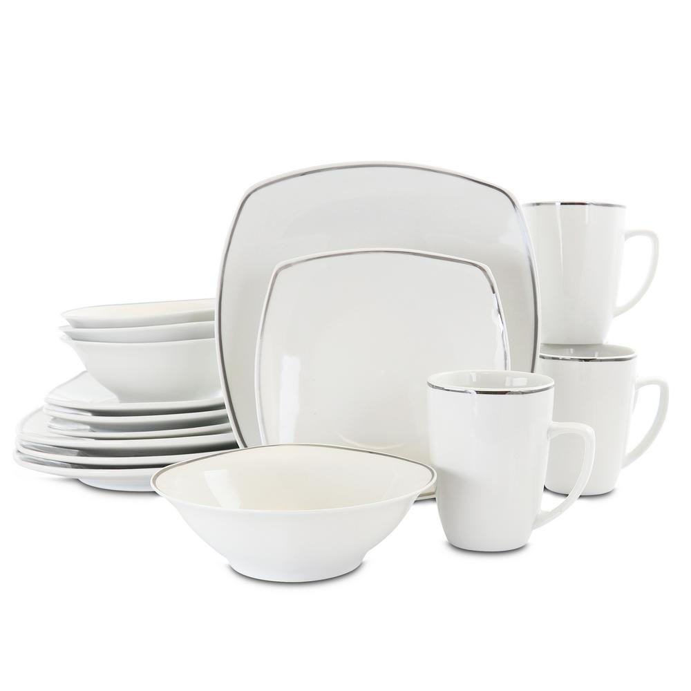 Gibson Home Zen Platinum 16 Piece Casual White Ceramic Dinnerware Set Service For 4 Nel 2020