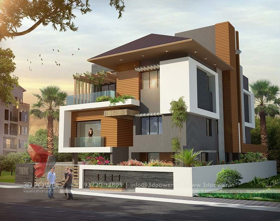 Modern Bungalow Exterior Day Night Rendering Elevation Design By Power