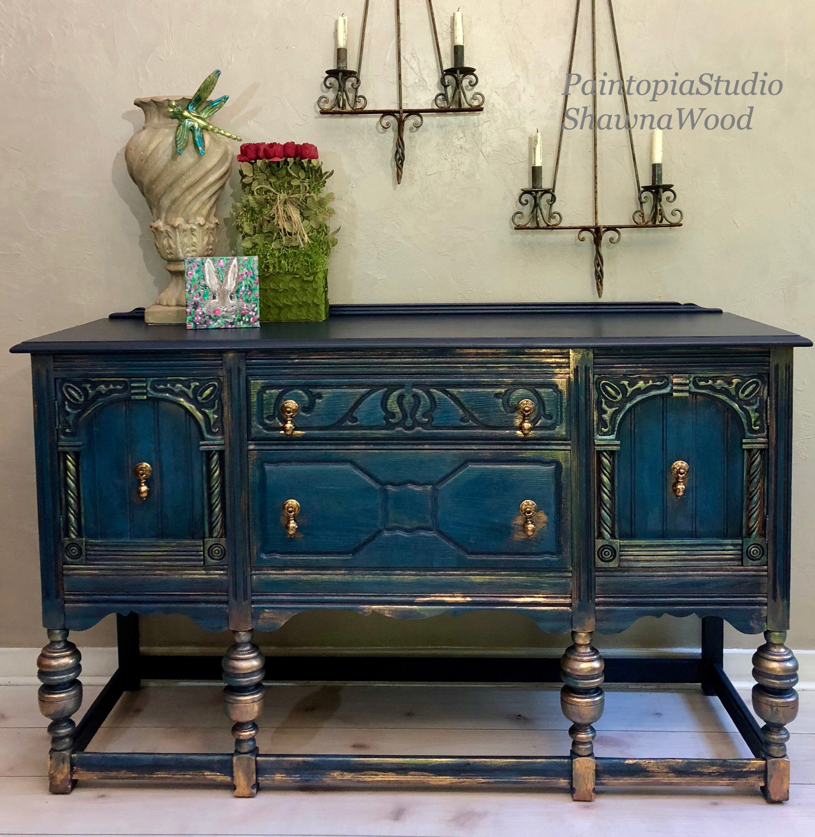 Buffet Sideboard Blue Vintage Sideboard Dining Room Buffet Sideboard Jacobean Buffet