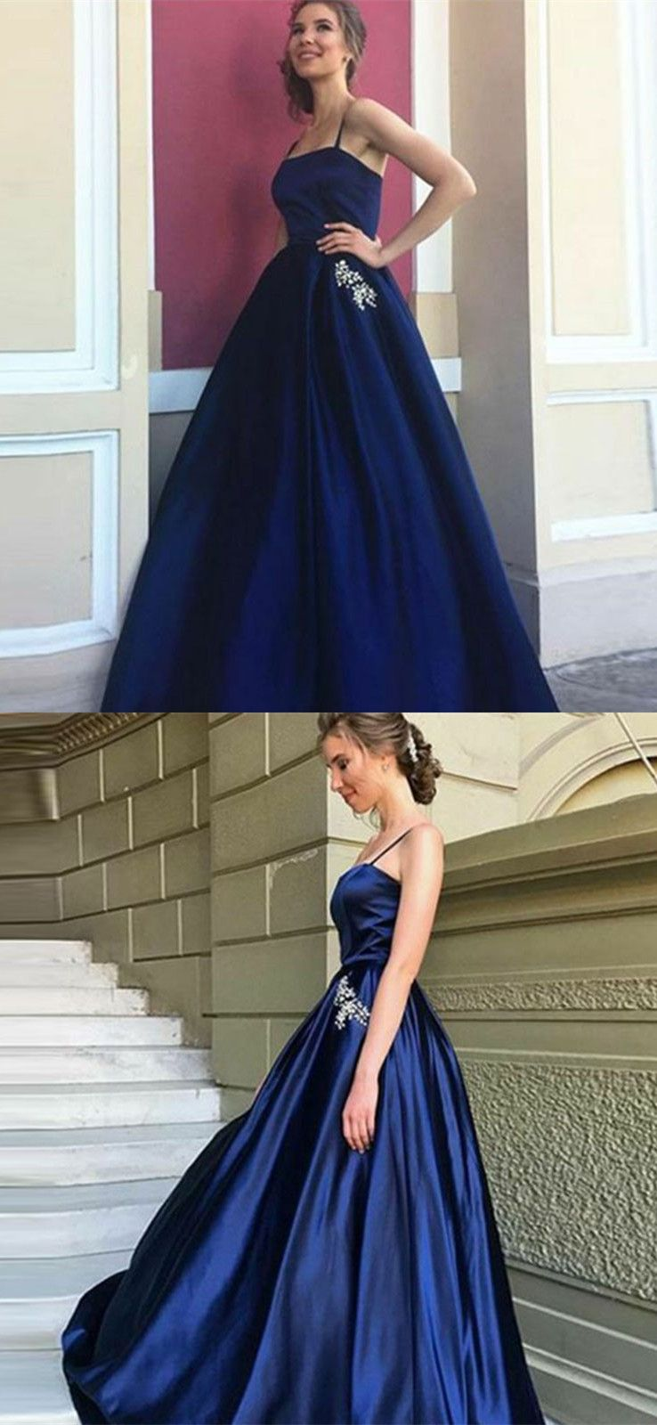 Aline spaghetti straps blue satin prom dress with pockets beading