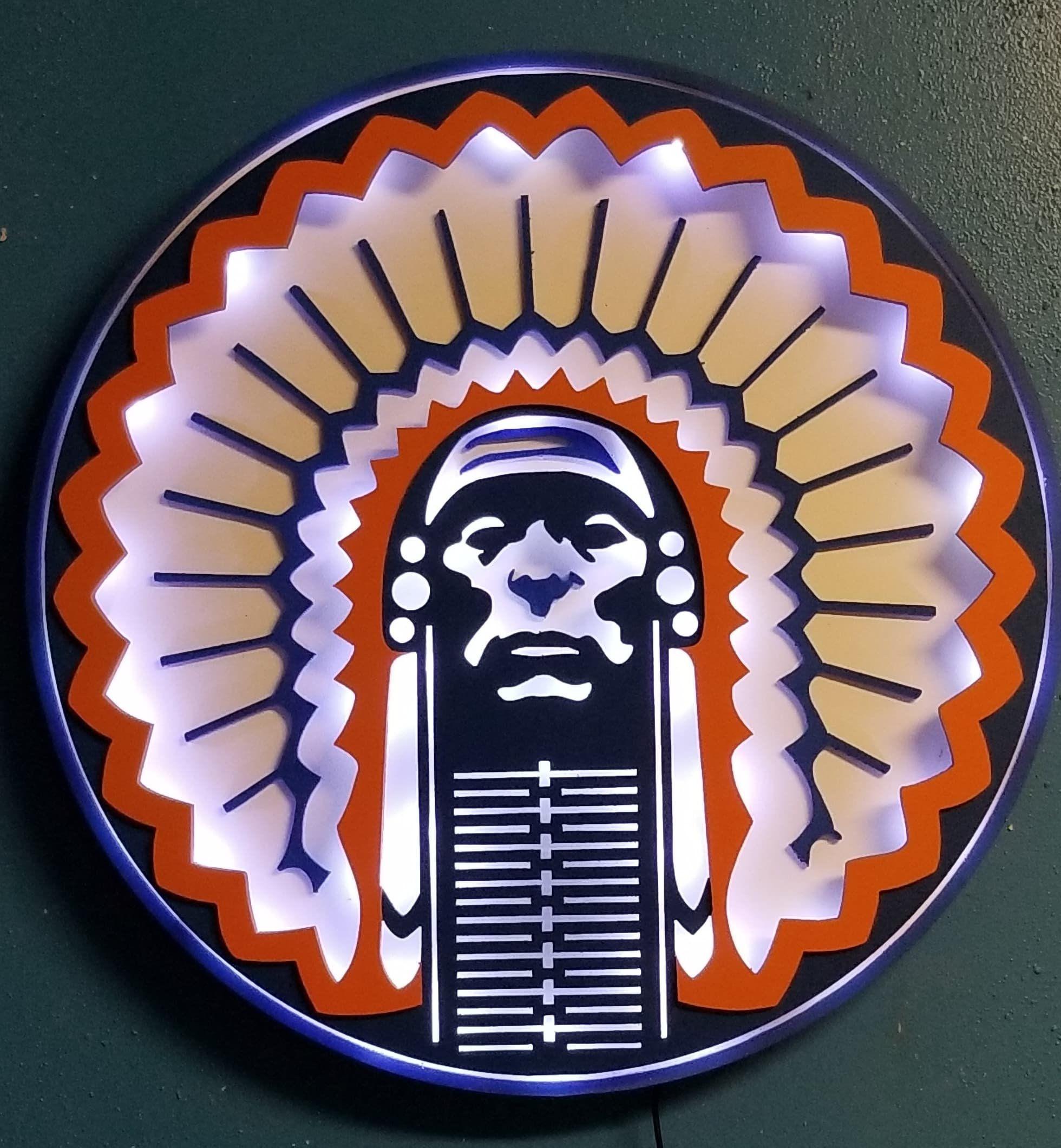 Chief Illiniwek Led Sign Retro Illinois Logo Fighting Illini