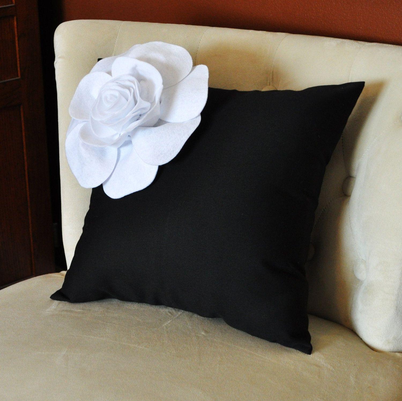 Decorative White Corner Rose on Black Pillow 14 X 14 Black and White Flower Pillow - Decorative Pillow  - Throw Pillow. $35.00, via Etsy.