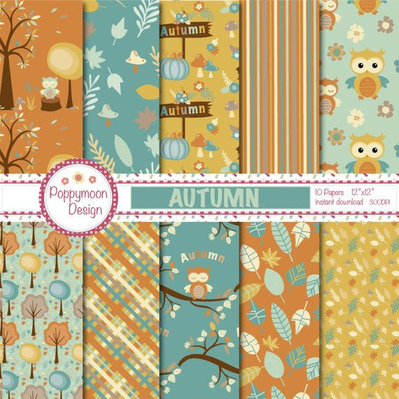 Autumn owls, trees , leaves and pumpkins, teal and browns, printable digital paper pack