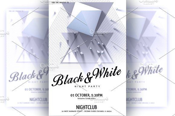 nice BlackWhite Party Flyer CreativeWork247 - Fonts, Graphics - Invitation Flyer Template