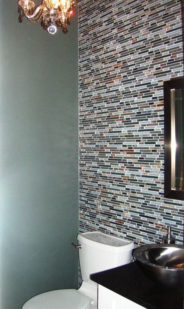 Powder Room With Mosaic Tile Accent Wall Powder Room Bathroom Wall Tile Glass Tile