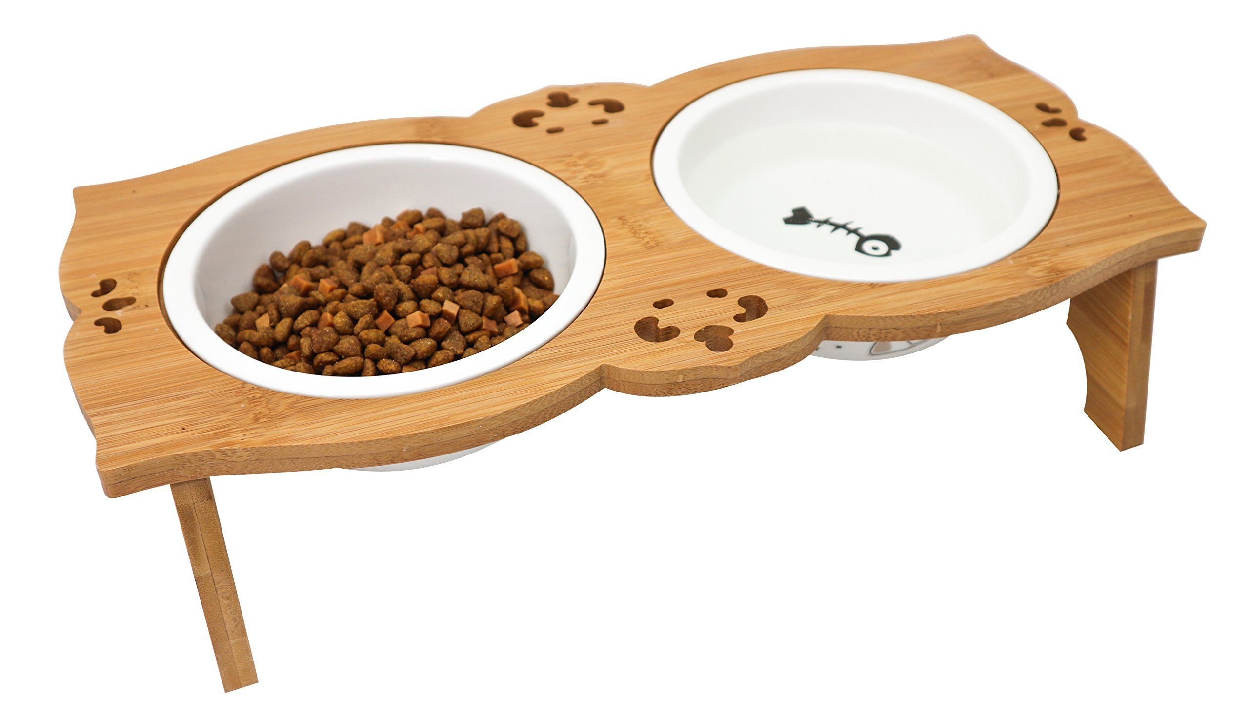 Elevated Dog Cat Double Ceramic Bowls Raised Pet Food Water Feeder