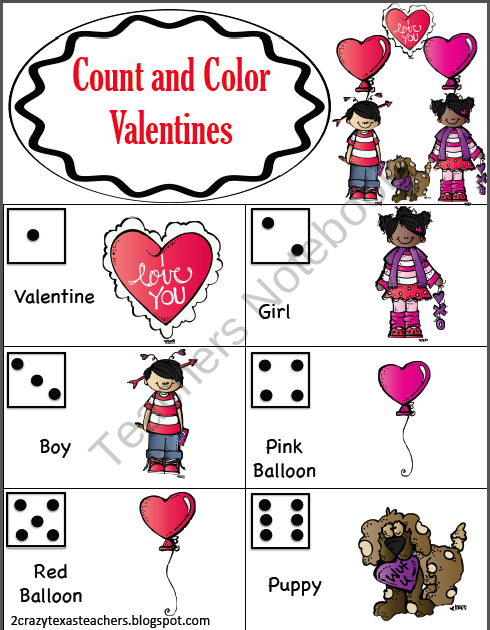 FREE Valentines Count and Color product from 2-Crazy-Texas-Teachers ...