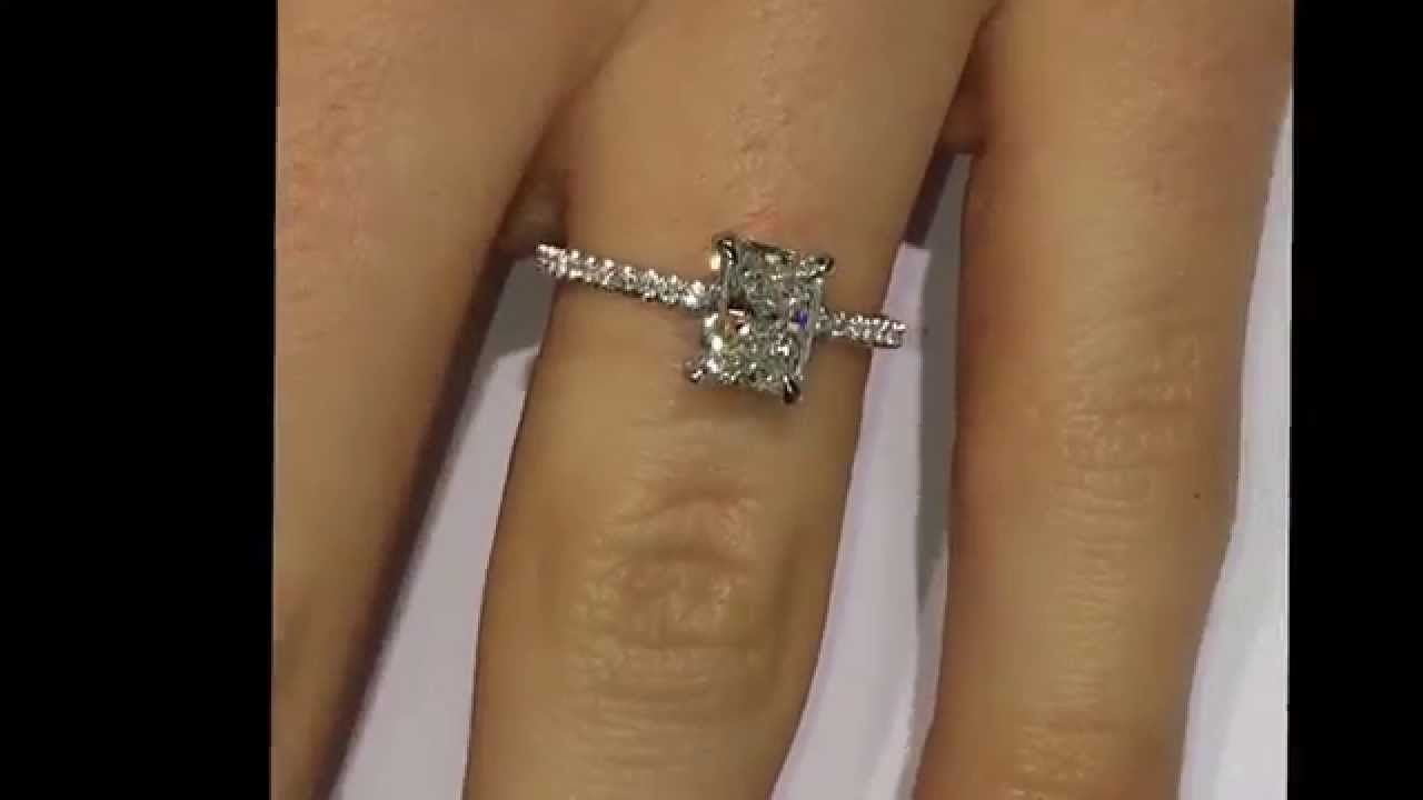 ct elongated radiant cut diamond engagement ring