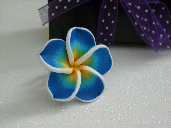 Blue Flower White Adjustable Filigree Ring by OctoberPetals