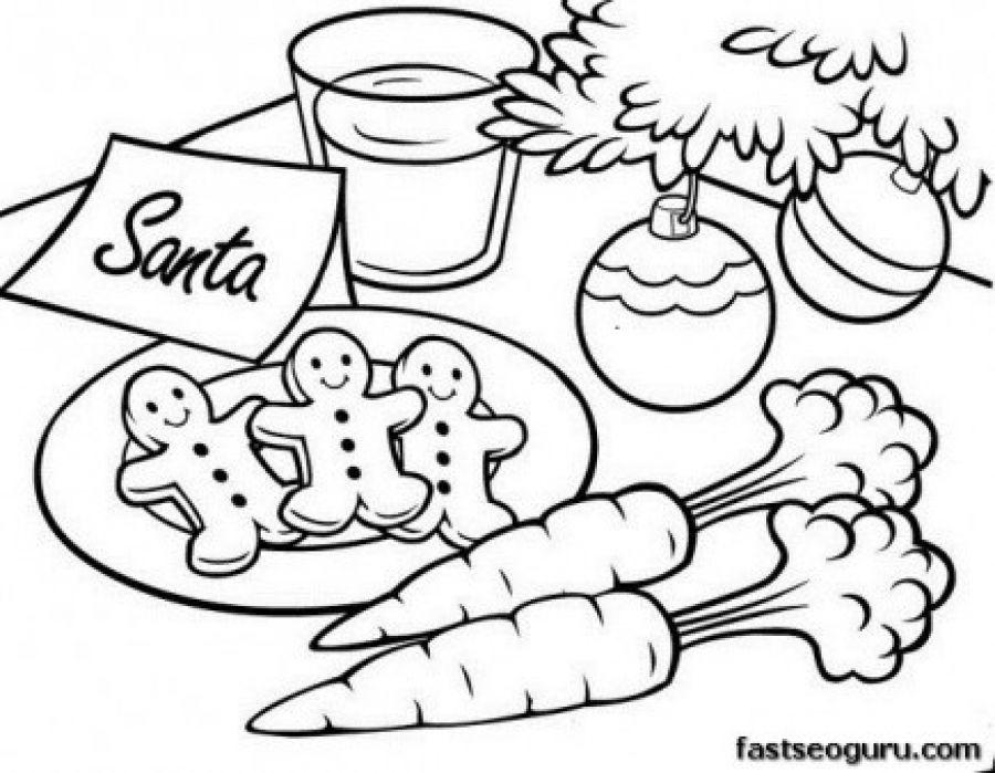 Gingerbread men for Santa coloring pages for kindergarten