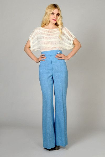 Chambray Ultra High Waisted Trousers S/M