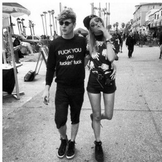 top black girl middle finger t-shirt baggy punk tank top cute couple sweater…