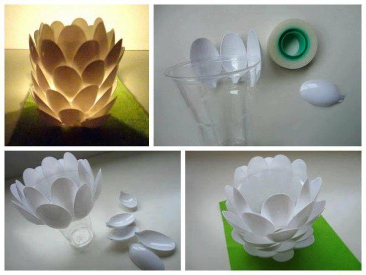 Velador diy diy do it yourself pinterest awesome creative and easy tutorial diy home craft ideas diy plastic spoon craft solutioingenieria Images