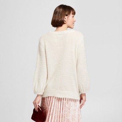 Women s Fuzzy Pullover Sweater - A New Day Cream (Ivory) S  0a784f6cd