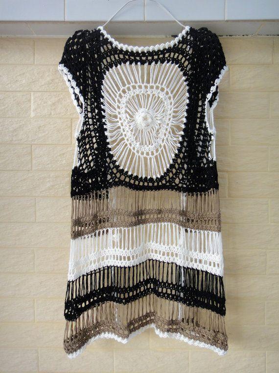 Long Crochet Vest Cardigans for Women Tunic por Tinacrochetstudio