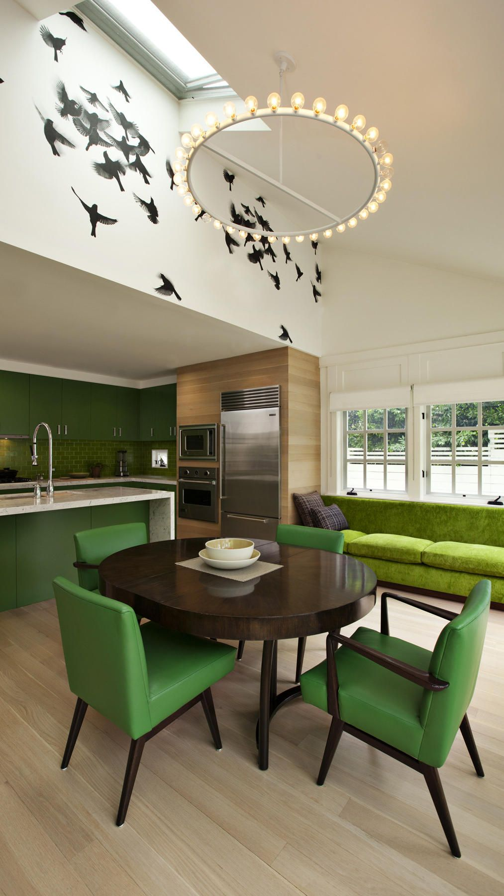 Fabulous green kitchen!  Hollywood bungalow remodel by designer Kay Kollar, Indi wallpaper by Trove.
