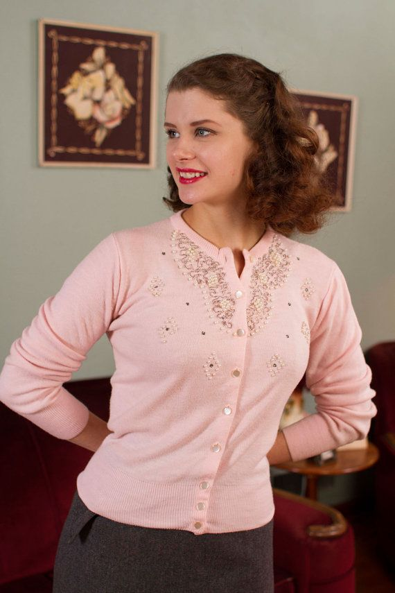 Vintage 1950s Sweater  Pale Pink Orlon Beaded Cardigan by FabGabs