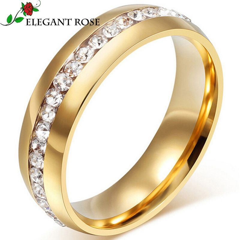 Click to Buy Elegant Rose Brand Jewelry Gold Color WomenMen Ring
