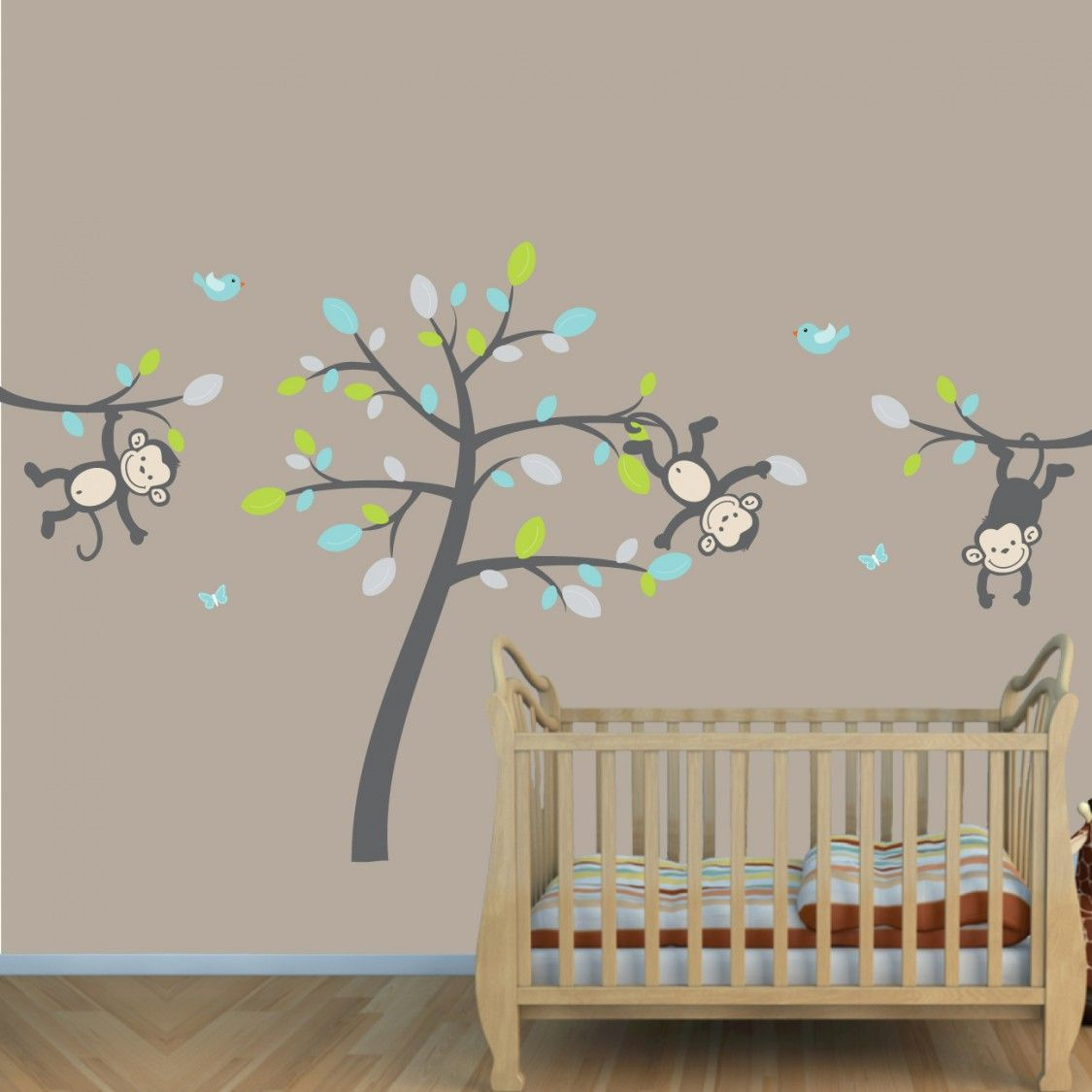 Teal U0026 Gray Jungle Nursery Wall Decals With Vine Wall Decals For Kids