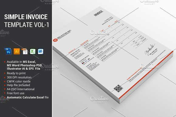 Simple Invoice Template Vol-1 by alimran24 on @creativemarket