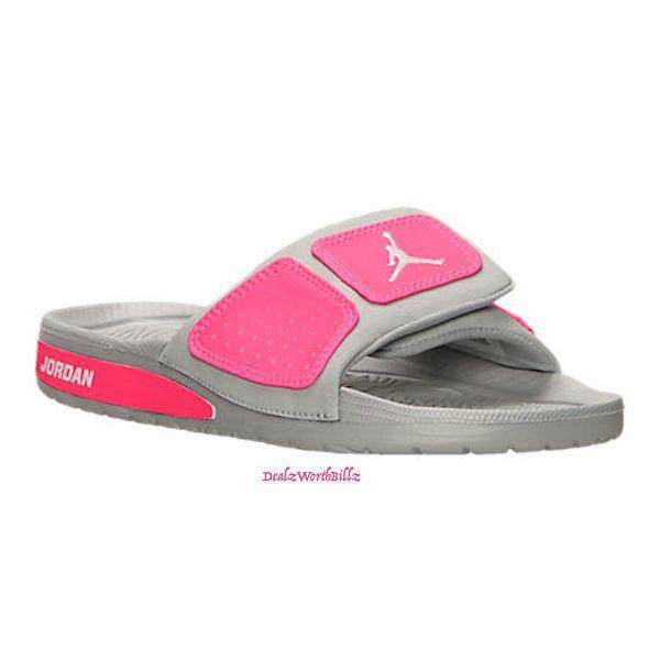pink and white air jordan sandals