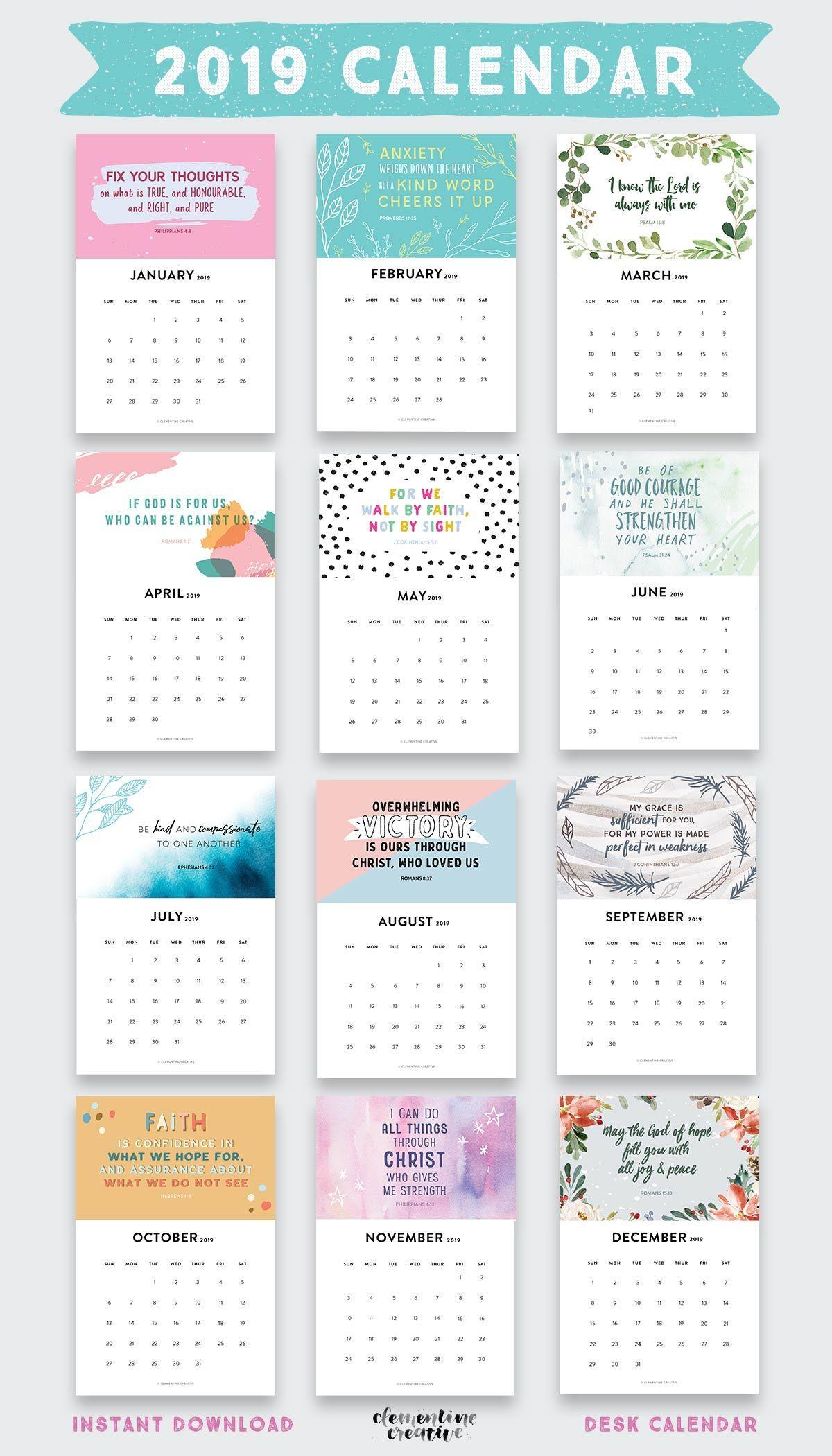 Printable 2019 Bible Verse Calendar Kalender Kertas Dinding Gambar