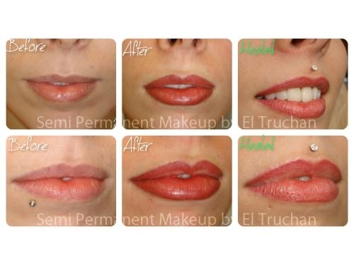 Semi Permanent Makeup lip blush Before - After - Healed by El