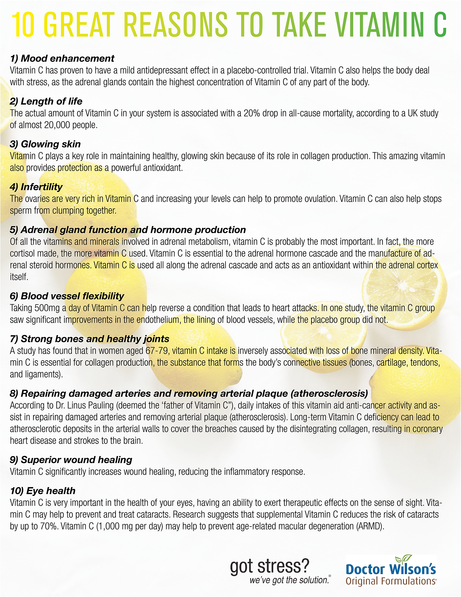 there are many great reasons to take vitamin c, but here are 10 you