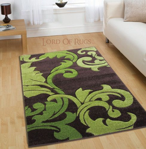 Details About Modern Large Brown Green Rug In 120x160 (4x5), 150x210 Cm (5x7)  Size Carpet