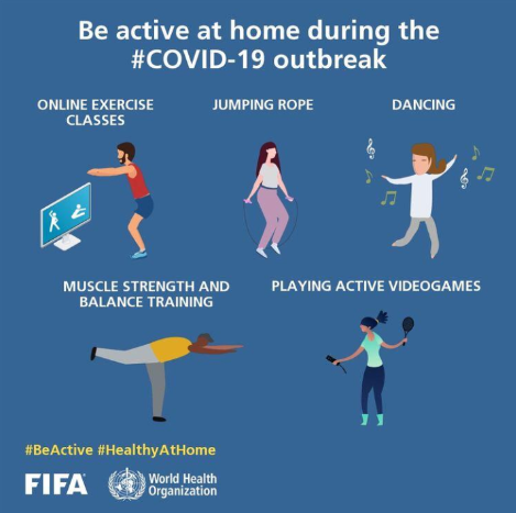 #Stayingactive is important under normal circumstances, but it can especially help your mental health when faced with the challenge of staying inside.   Remember to always go at your own pace. Check out some of the many ways to stay active at home during COVID-19.