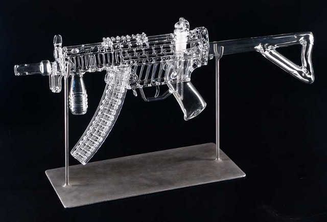 Life-Size Clear Glass Assault Rifle Pipes (Well, Bongs)