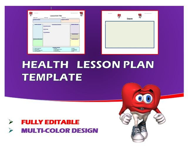 Lesson Plan Template- Health (Editable) Lesson plan templates - health lesson plan
