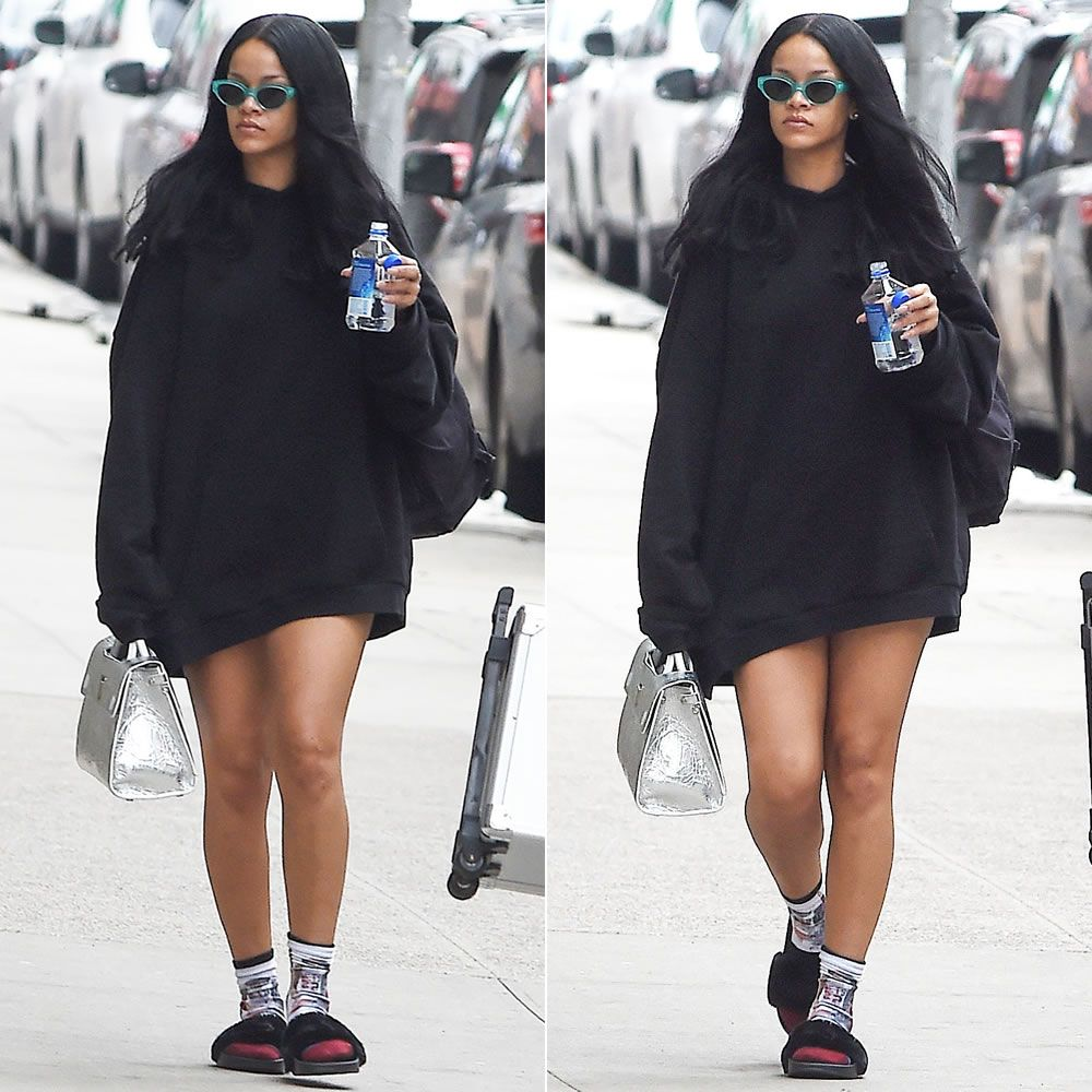 pretty nice a5a5a d7b91 Rihanna In Vetements Black Embroidered Hoodie | fenty slides ...