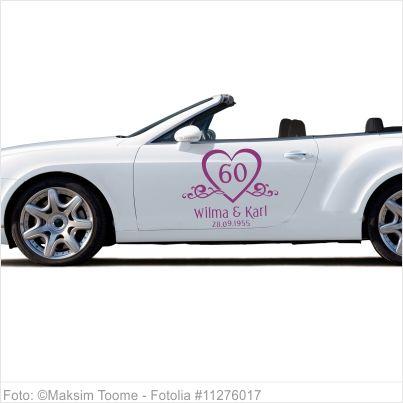 Autoaufkleber Hochzeit Diamantene Hochzeit Mit Namen Und Datum Auto Aufkleber Aufkleber Trauzeugin