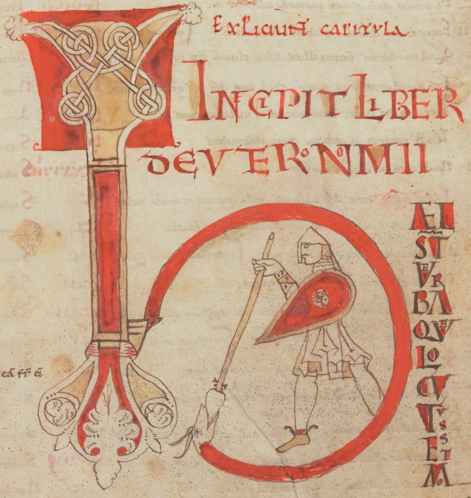 Carolingian Soldier with Kite Shield in the ornate letter