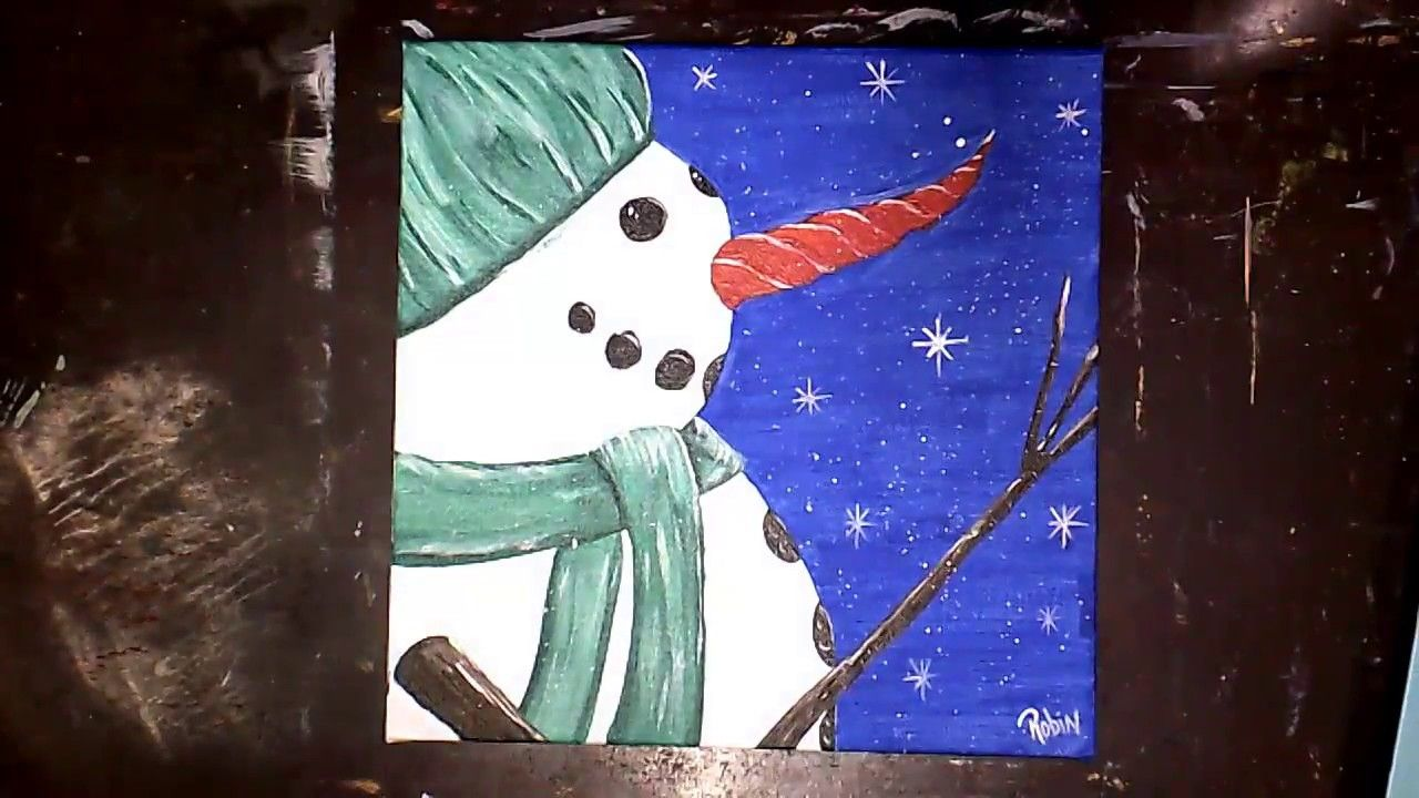 December Winter Snowman Easy Acrylic Painting Free Lesson Canvas