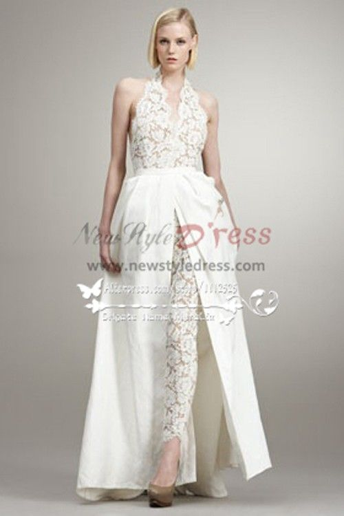 Fashion sexy wedding pants dresses lace jumpsuit with for Wedding dress pant suits