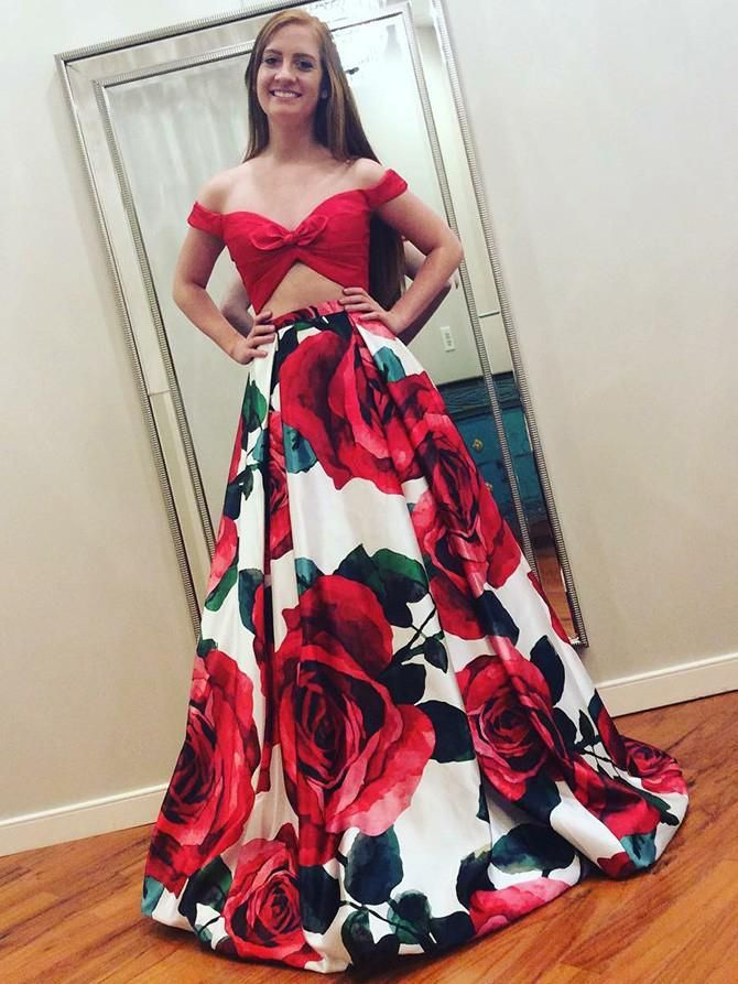 de4ade67505 Two Piece Prom Dresses Floral Print Long Red Prom Dress Sexy Evening Dress  JKL781
