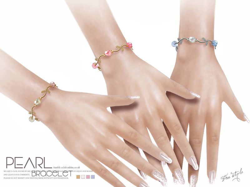 The Pearl bracelet for female sims, 4 colors inside. Found in TSR Category 'Sims 4 Female Bracelets'
