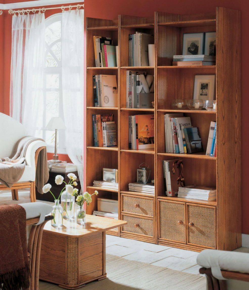 Bibliotheque En Rotin Brin D Ouest Decoration Maison Mobilier De Salon Meubles De Rangement