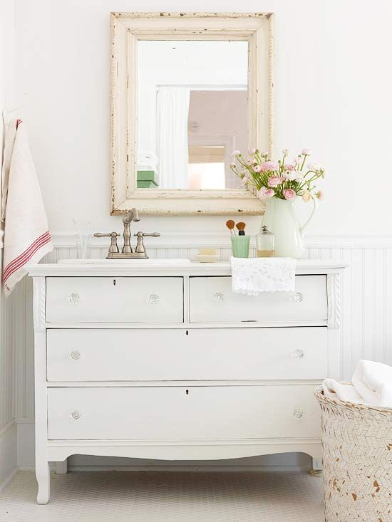 Single Vanity Design Ideas Vintage Dressers Shabby Chic And - Cottage style bathroom vanities cabinets for bathroom decor ideas