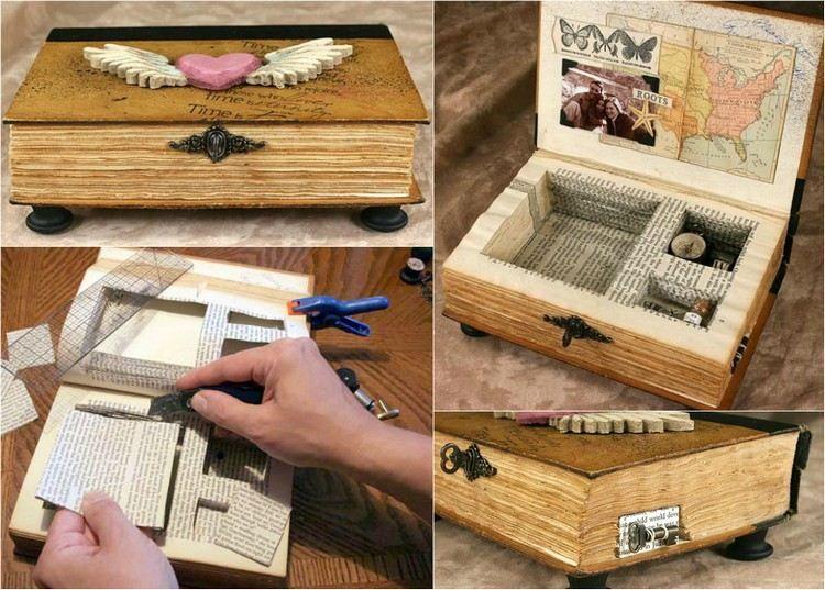 schmuckkasten in einem buch gestalten wohnung pinterest recycling basteln basteln und. Black Bedroom Furniture Sets. Home Design Ideas