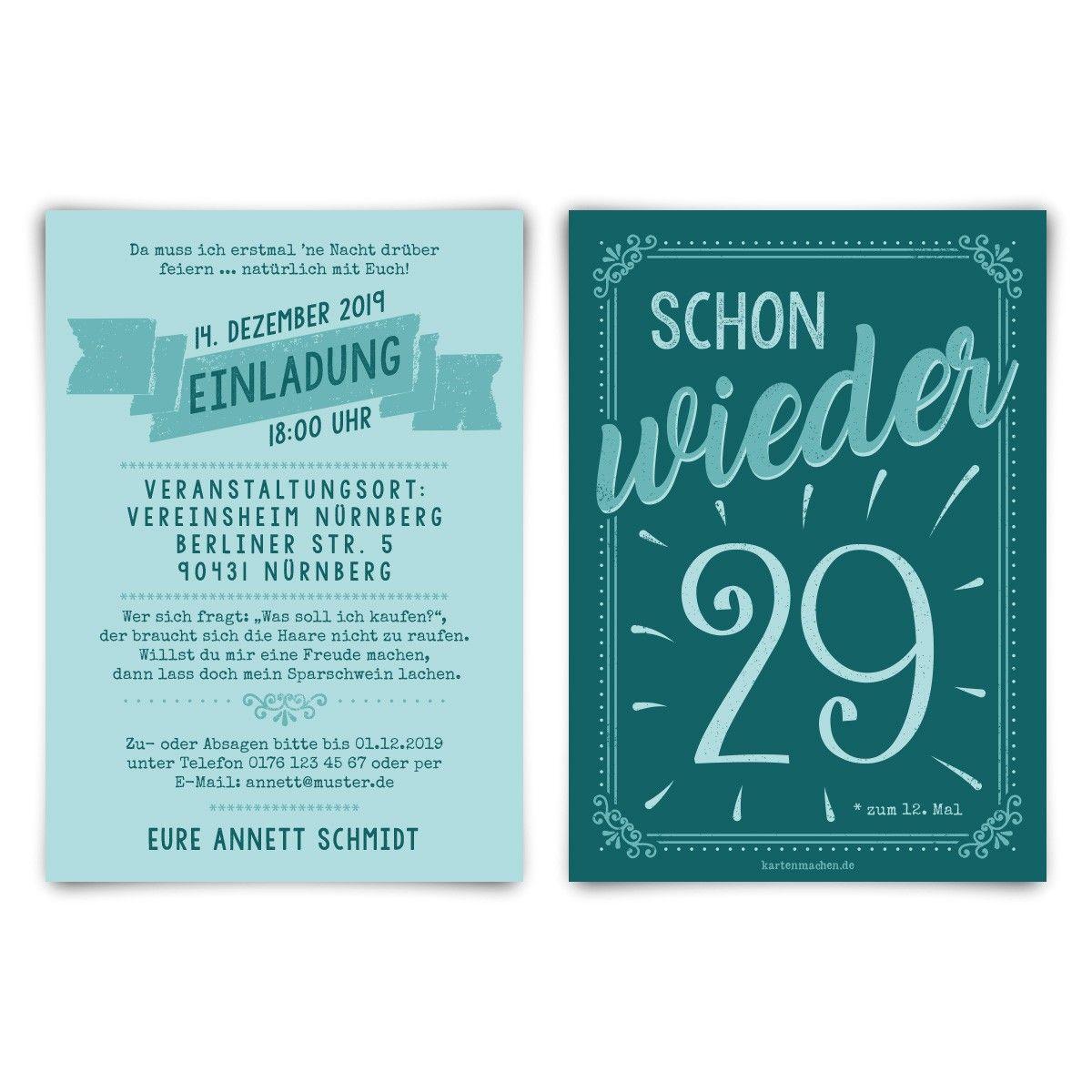 Einladungskarten zum Geburtstag für Mann Frau mit Text Einladungen mit Umschlag