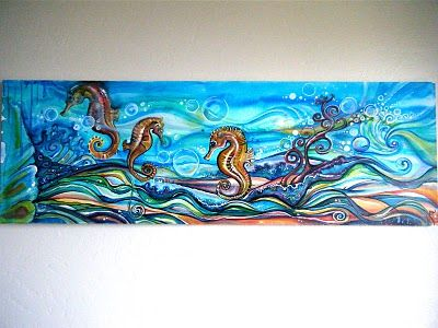 """Octopus! Sea horses! Bubbles! Swirls! Here are some commissions that I finished recently for people that wanted undersea paintings. They are acrylic on canvas, at a pretty large 20""""x 60."""""""