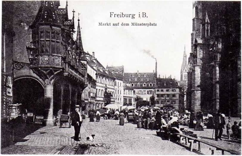 der freiburger markt auf dem m nsterplatz postkarte um 1900. Black Bedroom Furniture Sets. Home Design Ideas