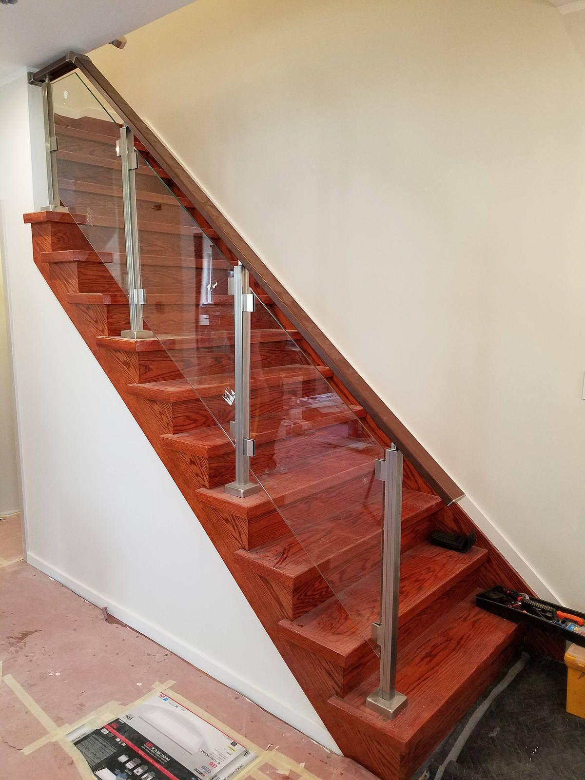 Bon Modern Square Stairs Balcony Glass Hand Rail Staircase Railing Kit   Glass  NOT I