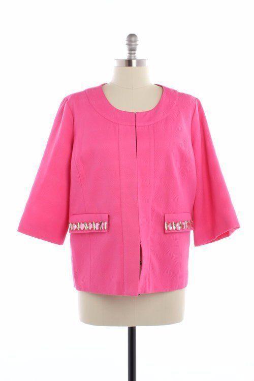 3f0858cfeb7c5 NWT Laura Ashley Hot Pink Embellished Blazer Jacket PLUS SIZE 3X NWT (BIN  10)  LauraAshley  BasicJacket