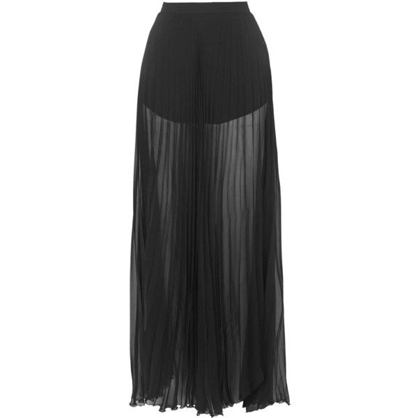 TOPSHOP **Tasha Pleated Sheer Skirt by Jovonna (710 ARS) ❤ liked on Polyvore featuring skirts, pants, saias, black, see through skirt, pleated skirt, sheer skirt, black pleated skirt and black sheer maxi skirt