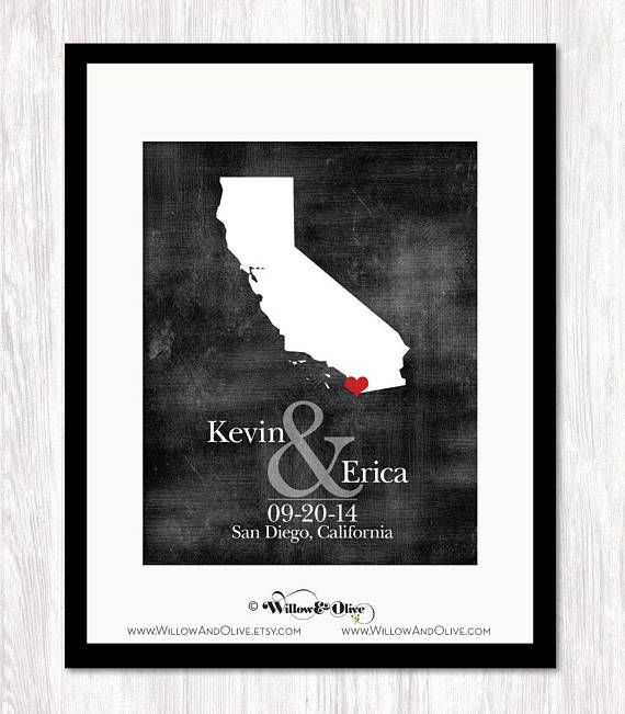 Personalized Wedding Gift State Map Print Bride Groom Names And